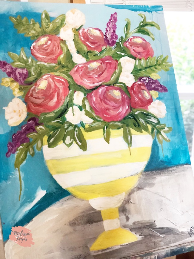 Acrylic Flower Art. Pink, yellow and turquoise painting. Beautiful and soulful art for the home by Melissa Lewis.
