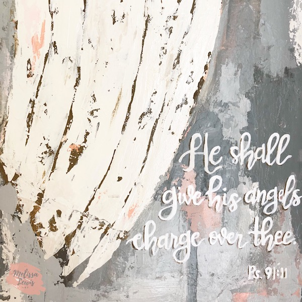 Angel Wings Painting Inspired by Psalm 91 verse 11 by Melissa Lewis