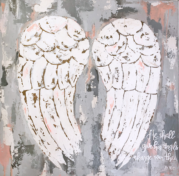 Melissa Lewis - 24x24 Commissioned Angel Wings with Scripture Painting