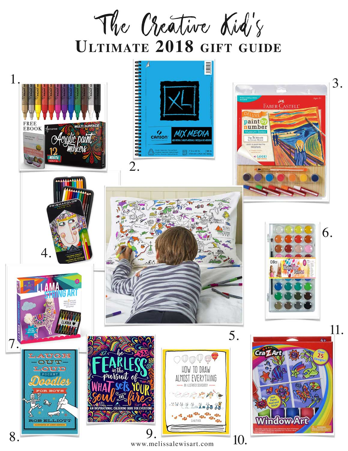 Creative Kid's Holiday Christmas Gift Guide for Art and Craft lovers by Melissa Lewis