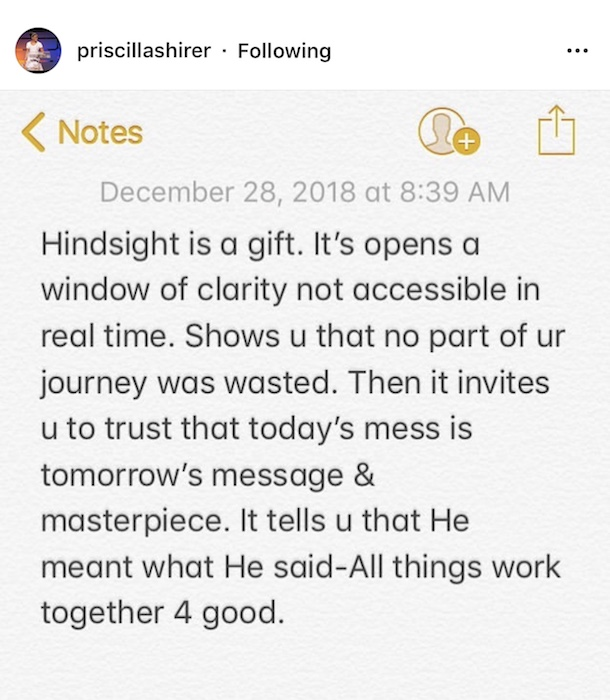 Priscilla Shirer Hindsight Quote