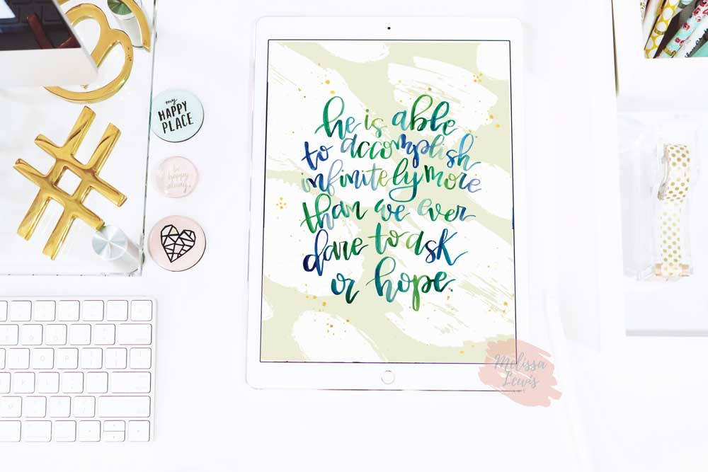 January Handlettered Watercolor Scripture Desktop iPhone iPad Wallpaper Free