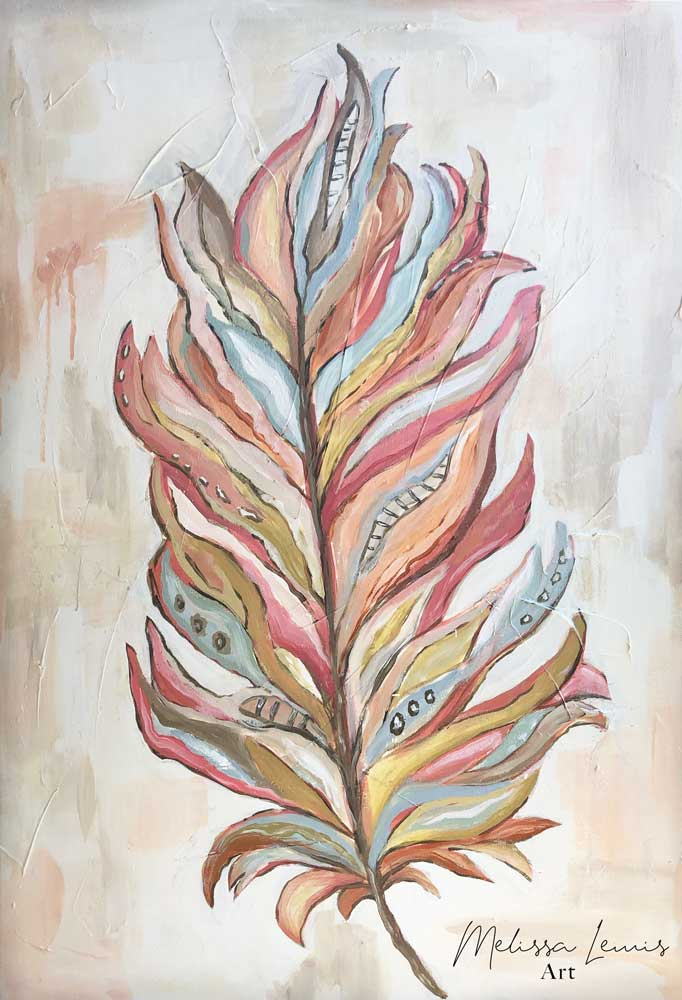 Abstract Boho Textured Acrylic Feather Painting by Southern Artist Melissa Lewis