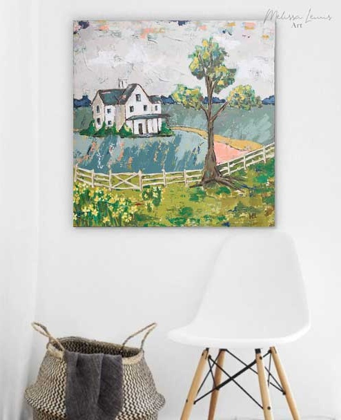 Boho+Farmhouse+Abstract+Acrylic+Landscape+Painting+by+Southern+Artist+Melissa+Lewis
