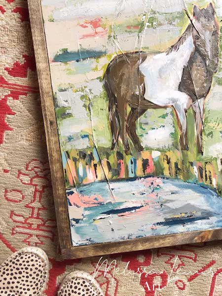 Boho Farmhouse Horse Landscape Acrylic Abstract Painting by Southern Artist Melissa Lewis