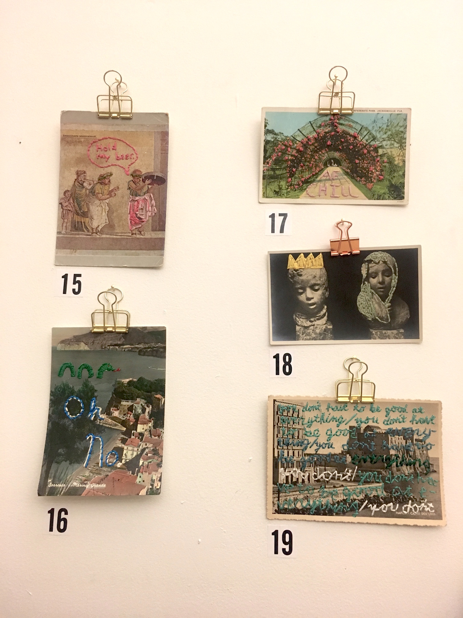 Embroidered Postcards by Frances Chiem | $25-50