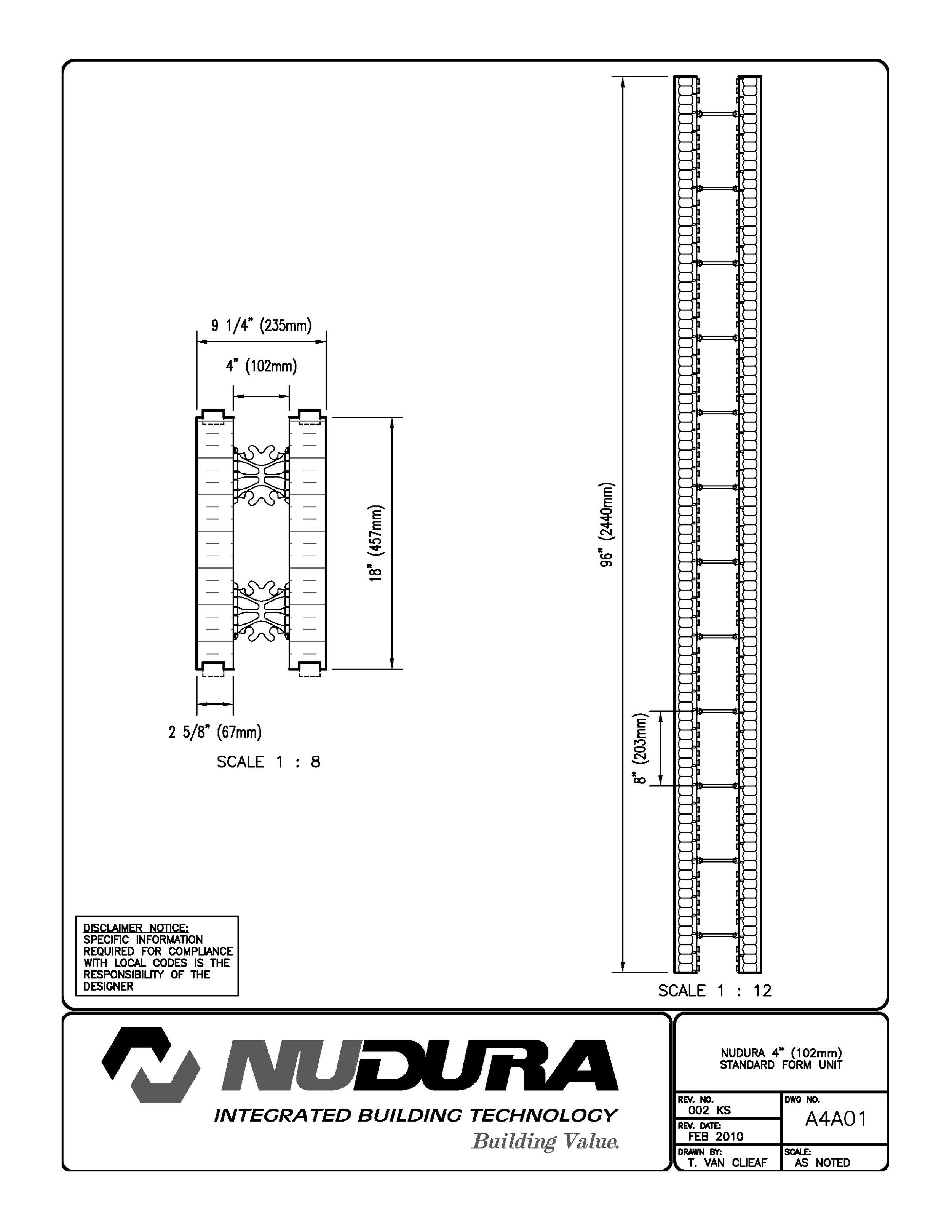 NUDURA standard form unit | A4A01 | Integrated building technology