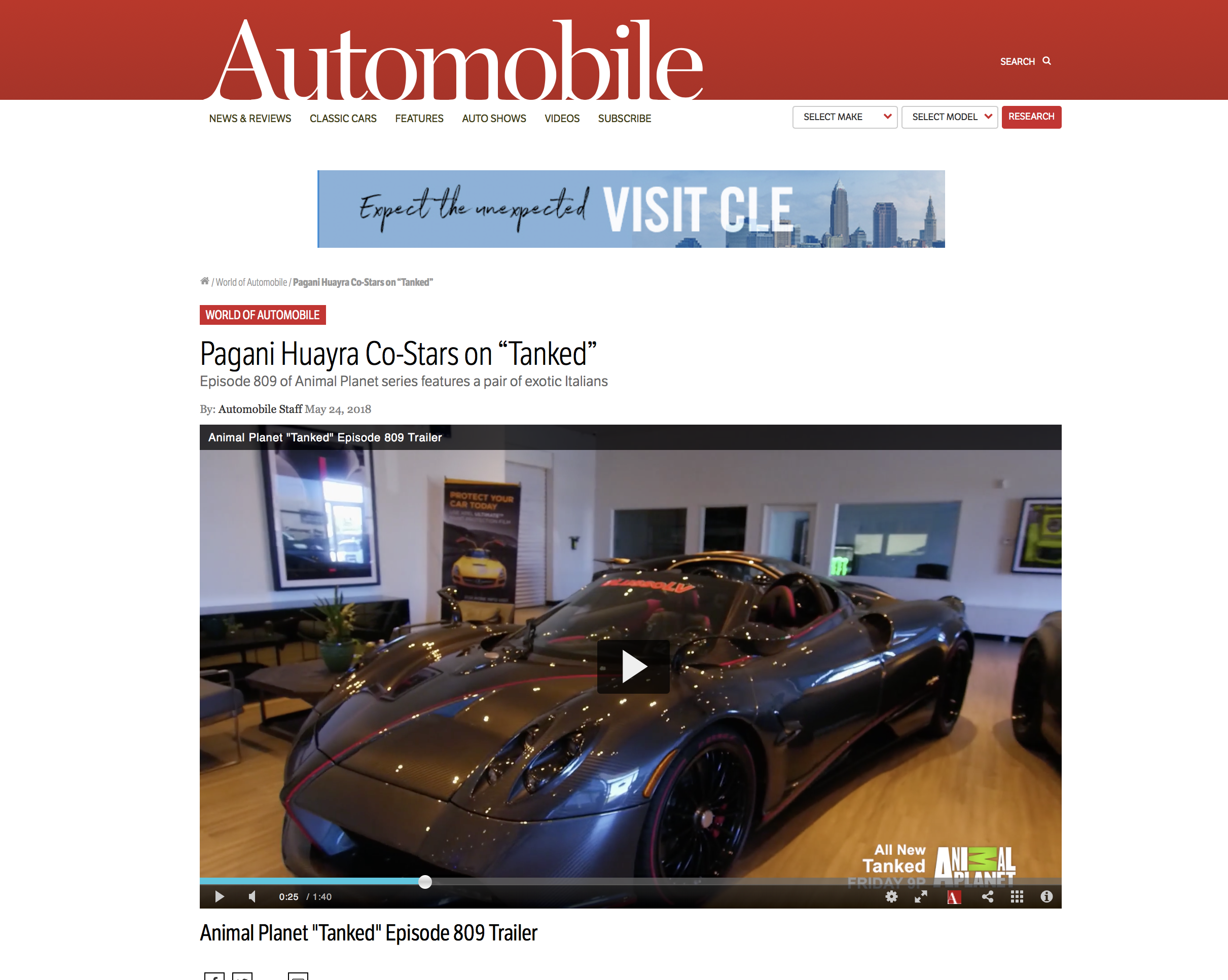 "MAY 2018 | Automobilemag.com  Lusso's Pagani Co-Stars on ""Tanked"""