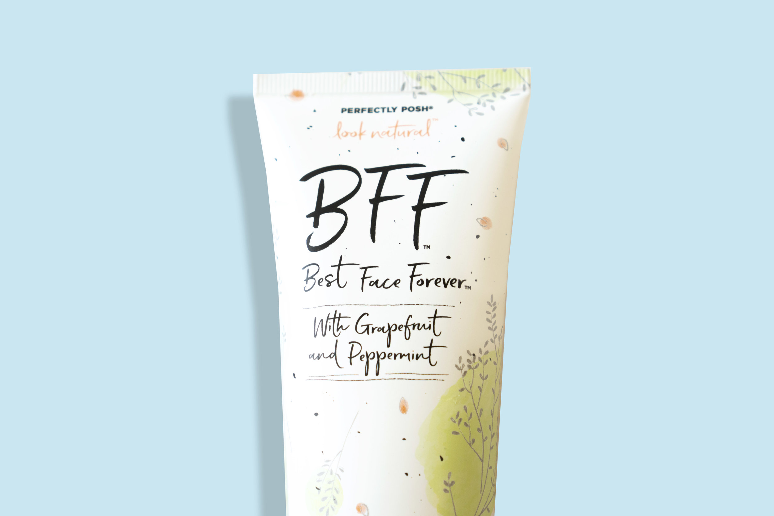 Perfectly Posh BFF: Best Face Forever image close up on blue background.