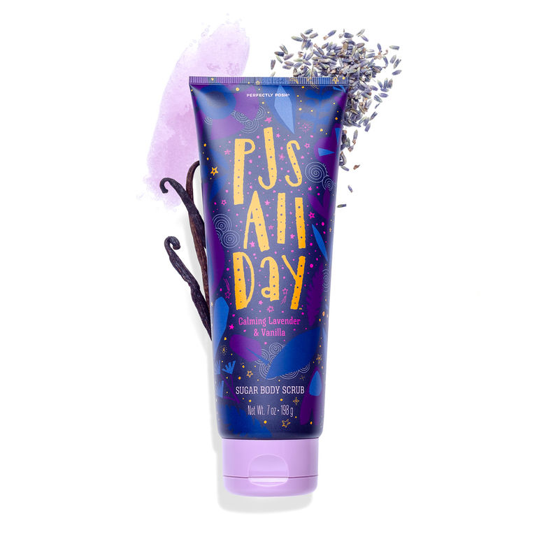 Perfectly Posh PJs All Day Sugar Body Scrub, lavender body scrub, gentle body scrub, everyday body scrub, naturally based body scrub