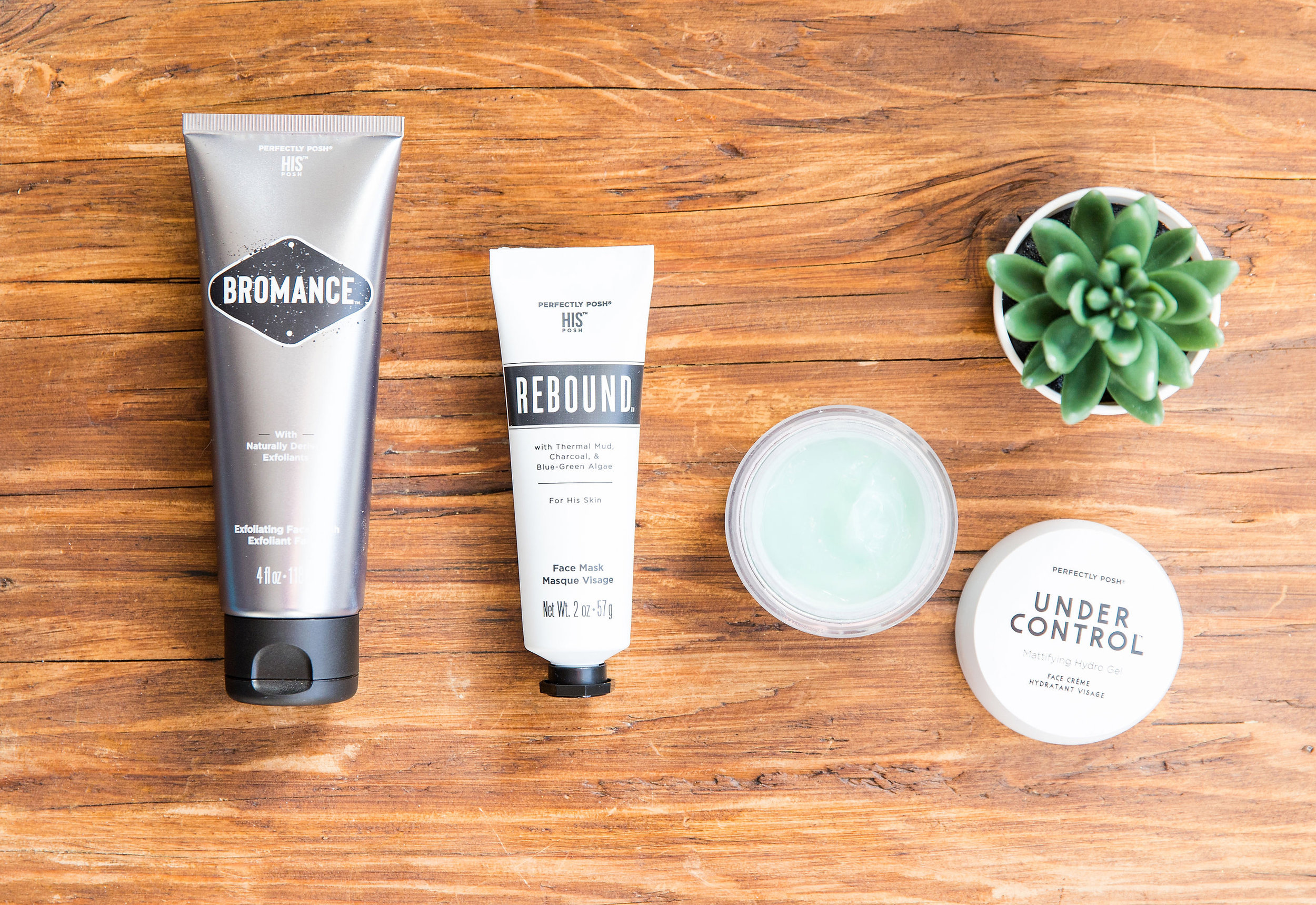 Perfectly Posh men's skincare, men's skin routine, naturally based skincare for men, Under Control Face Creme, Rebound Face Mask, Bromance Exfoliating Face Wash