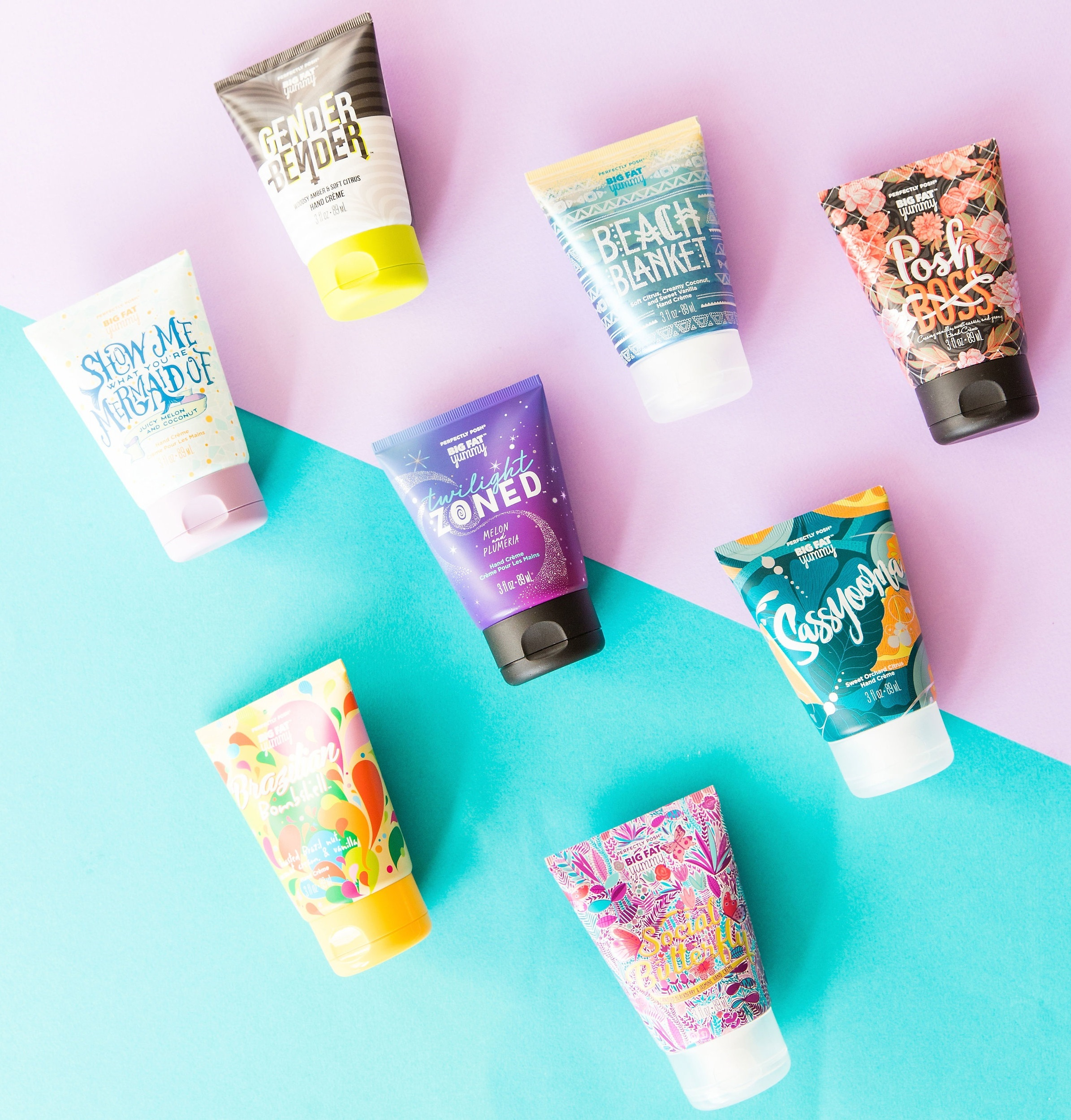 Perfectly Posh Big Fat Yummy Hand Crème, Brazilian Bombshell Big Fat Yummy Hand Crème, Social Butterfly Big Fat Yummy Hand Crème, Sassyooma Big Fat Yummy Hand Crème, Twilight Zoned Big Fat Yummy Hand Crème, Show Me What You're Mermaid Of Big Fat Yummy Hand Crème, Beach Blanket Big Fat Yummy Hand Crème, Posh Boss Big Fat Yummy Hand Crème, Gender Bender Big Fat Yummy Hand Crème, non-greasy hand cream, apricot kernel oil hand cream