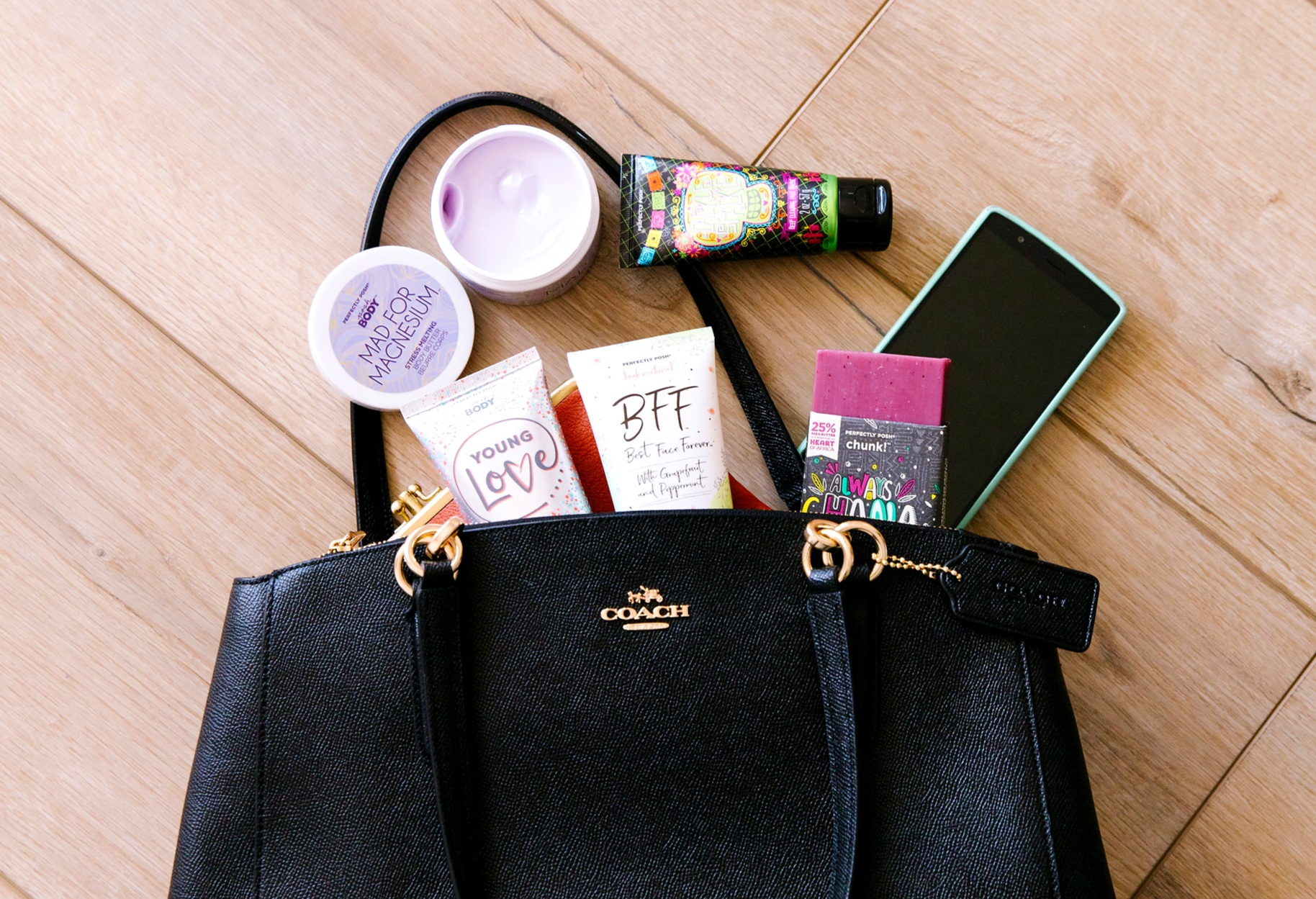 Perfectly Posh Consultant Mary Ludwig's favorite Posh products, Always Ghana Love You Chunk Big Bath Bar, BFF: Best Face Forever Exfoliating Face Wash, Young Love Body Creme, Mad for Magnesium Body Butter, Cackle Spackle Deep Cleaning Face Mask