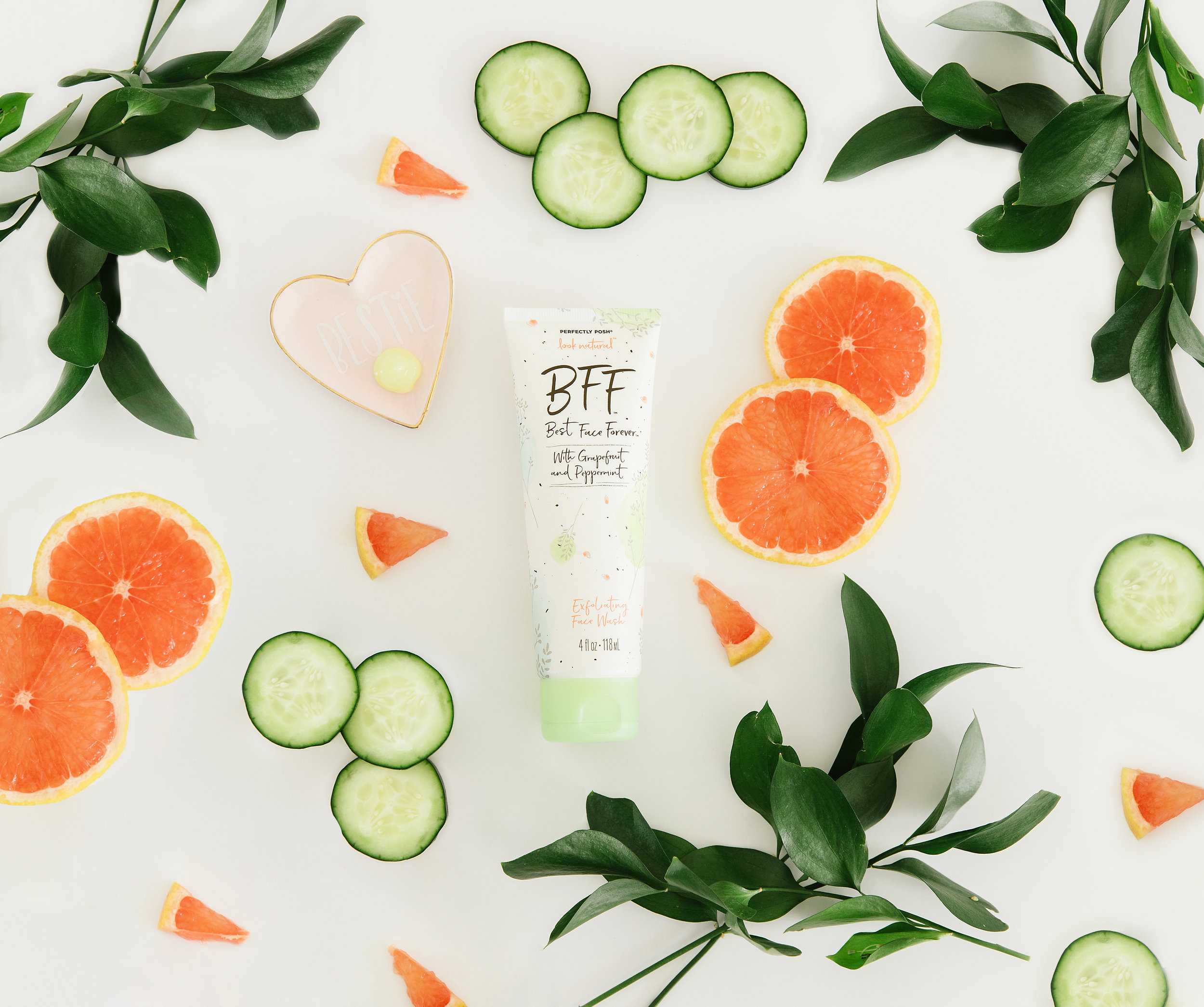Perfectly Posh BFF: Best Face Forever Face Wash styled with grapefruit and cucumber, naturally based exfoliating face cleanser with all vegan ingredients and grapefruit and peppermint essential oils