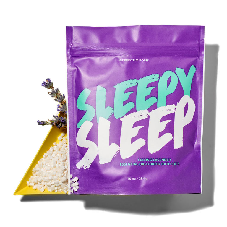 Perfectly Posh Sleepy Sleep All Mixd Up magnesium sulfate bath salts with lavender essential oil, soothing Epsom salts for sensitive skin with moisturizing sunflower oil