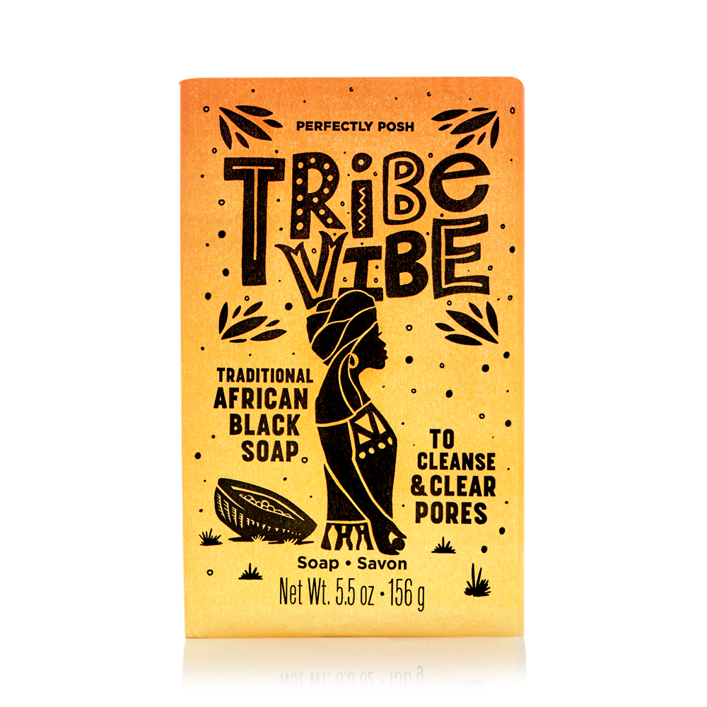 Perfectly Posh sustainably sourced shea butter Tribe Vibe Traditional African Black Soap with plantain extract and cocoa husk, pore-cleansing soap for face and body with Shea Sisterhood shea butter