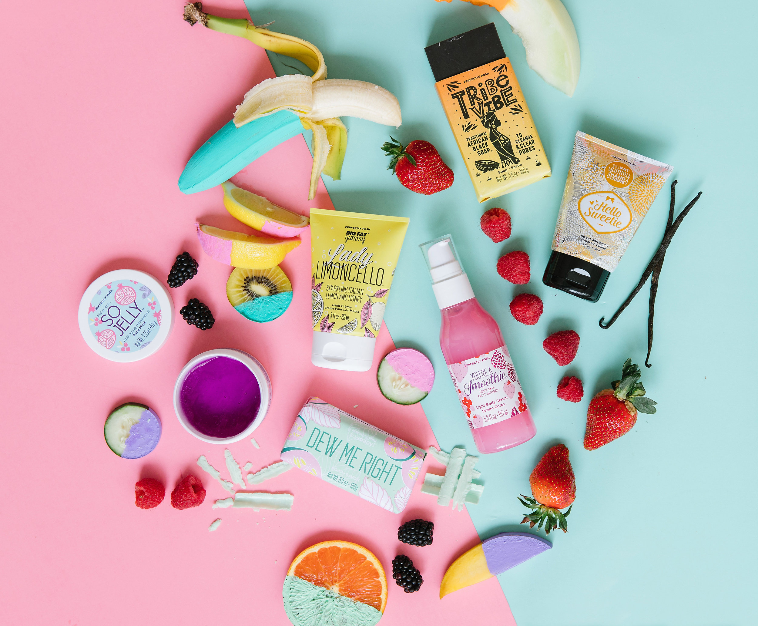 Perfectly Posh Spring 2019 product lineup, Dew Me Right So Soapy Bath Bar, You're a Smoothie Body Serum, Hello Sweetie Big Fat Yummy Hand Cream, Lady Limoncello Big Fat Yummy Hand Cream, So Jelly Anti-Aging Face Mask, Tribe Vibe Traditional African Black Soap with sustainably sourced shea butter from the Shea Sisterhood