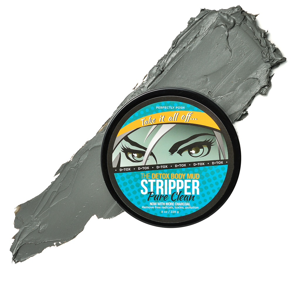 Perfectly Posh The Stripper Detoxifying Body Mud Mask with activated charcoal and kaolin clay, stylized image of The Stripper Body Mask showing texture and color with product packaging