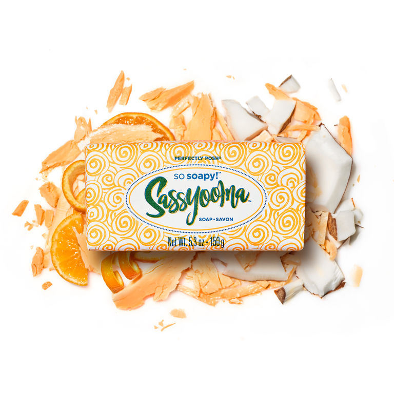 Perfectly Posh Sassyooma So Soapy Bath Bar for vegan skincare routine for body stylized with coconut and orange, vegan soap