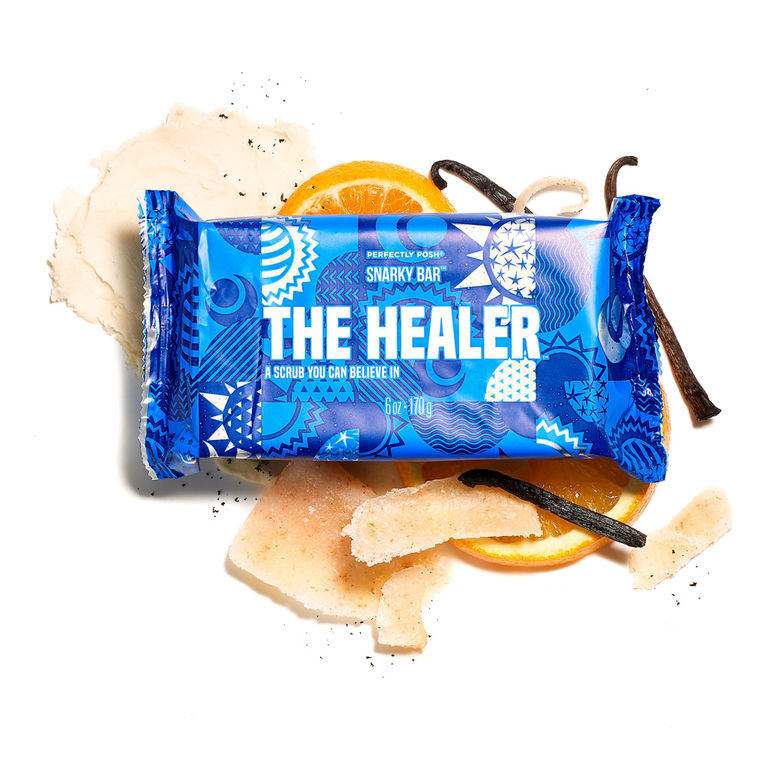 Perfectly Posh The Healer Snarky Bar, exfoliating bar soap for vegan skincare routine for body