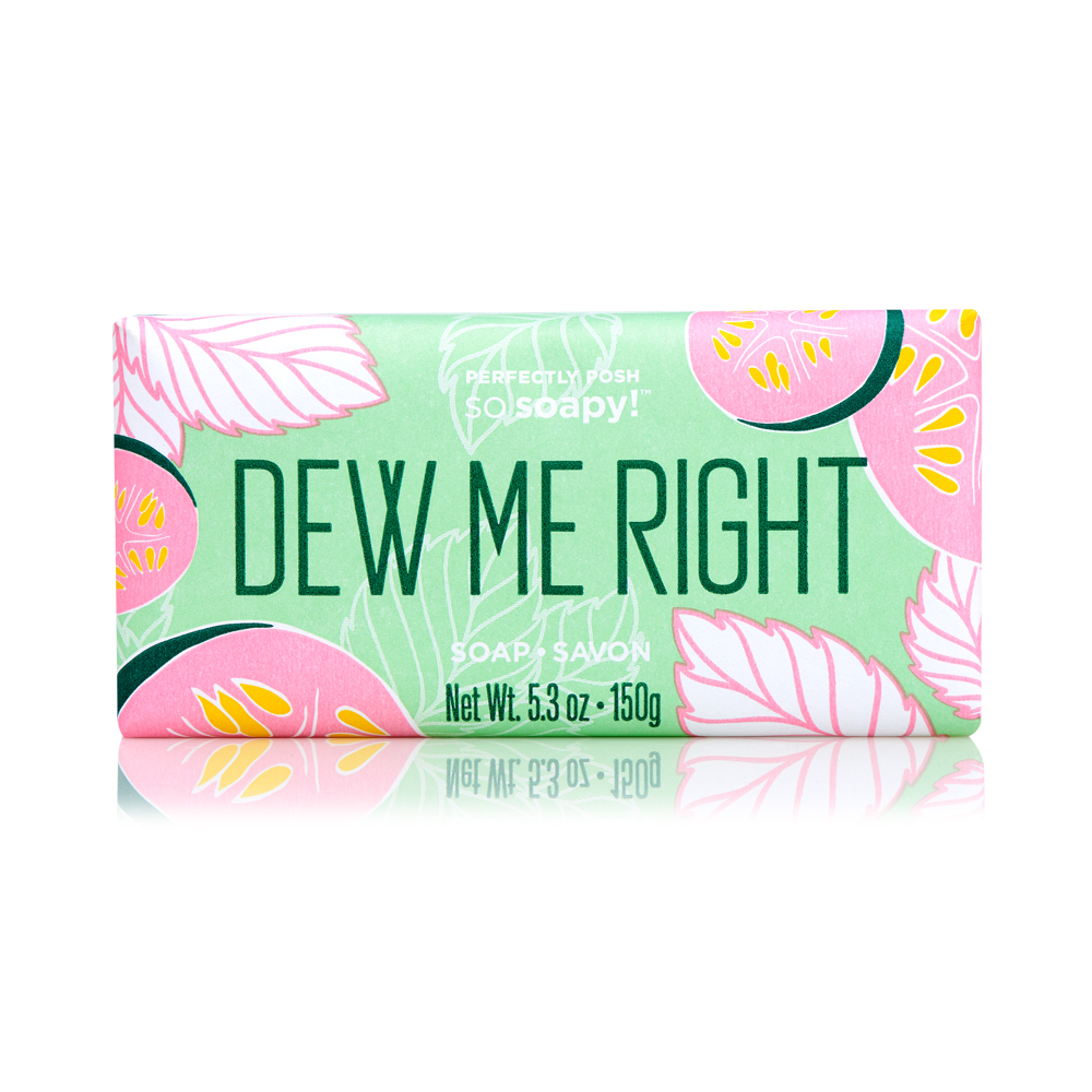 Perfectly Posh Dew Me Right So Soapy Bath Bar for cooling summer shower, cucumber and mint soap as part of a summer skincare routine