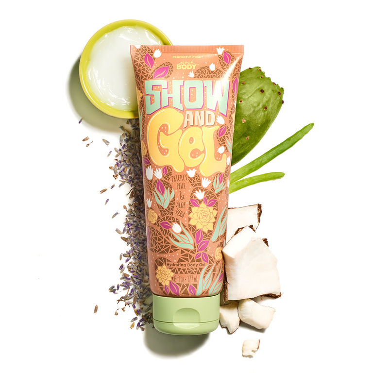 Perfectly Posh Show and Gel Gel-to-Water Moisturizer for summer skin, hydrating body gel with aloe vera and lavender for sunburn