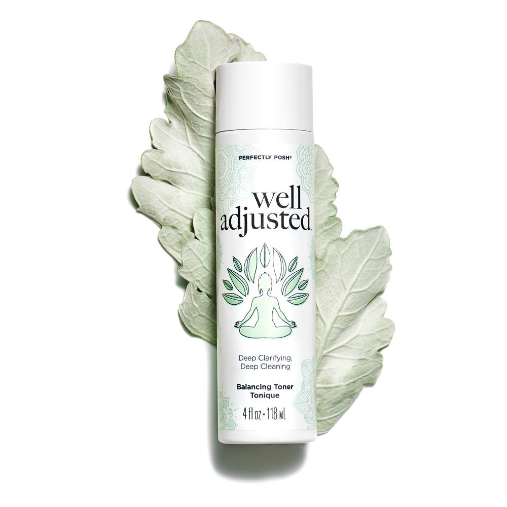 Perfectly Posh Well Adjusted Balancing Face Toner for oily and dry summer skin, deep cleaning glycolic acid and beta-glucan face toner as part of a summer skincare routine