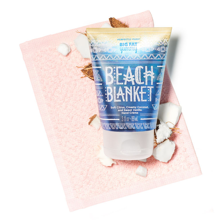 Perfectly Posh Beach Blanket Big Fat Yummy Hand Cream for summer hands, non-greasy hand lotion with coconut and citrus fragrance for summer
