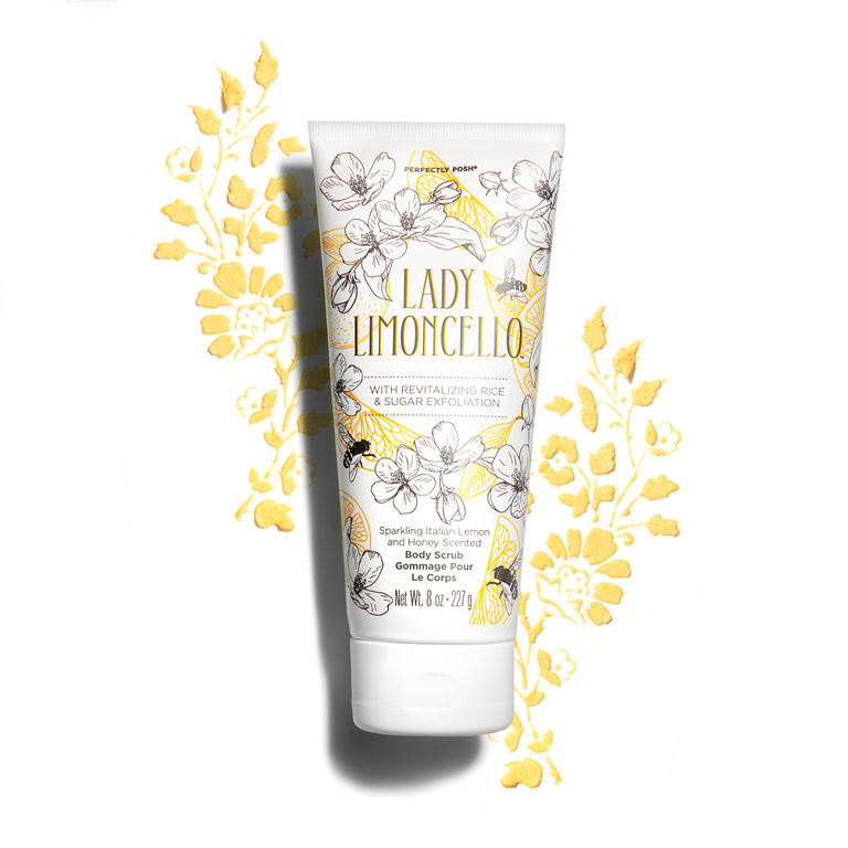 Lady Limoncello - With rice bran powder and sugar to buff and polish, Lady Limoncello™ Body Scrub refines skin for an effortlessly pretty glow while moisturizing and soothing with a touch of honey.