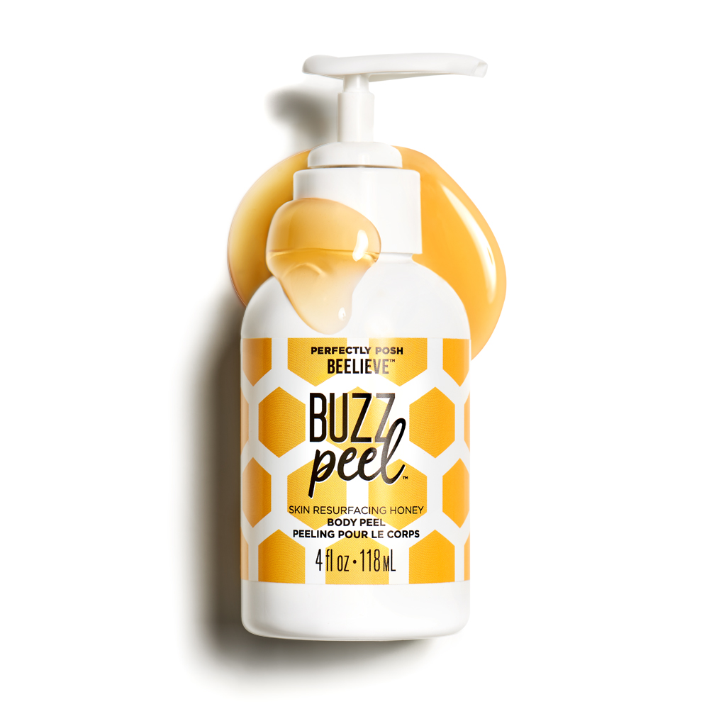 Perfectly Posh Buzz Peel Skin Resurfacing Honey Body Peel for softer skin without scrubbing, naturally based body peel gel with AHAs and pomegranate enzymes