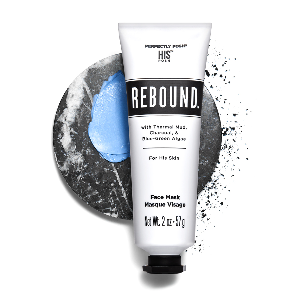 Perfectly Posh Rebound Men's Face Mask with thermal and blue-green algae, Posh face mask for men on stylized background with activated charcoal