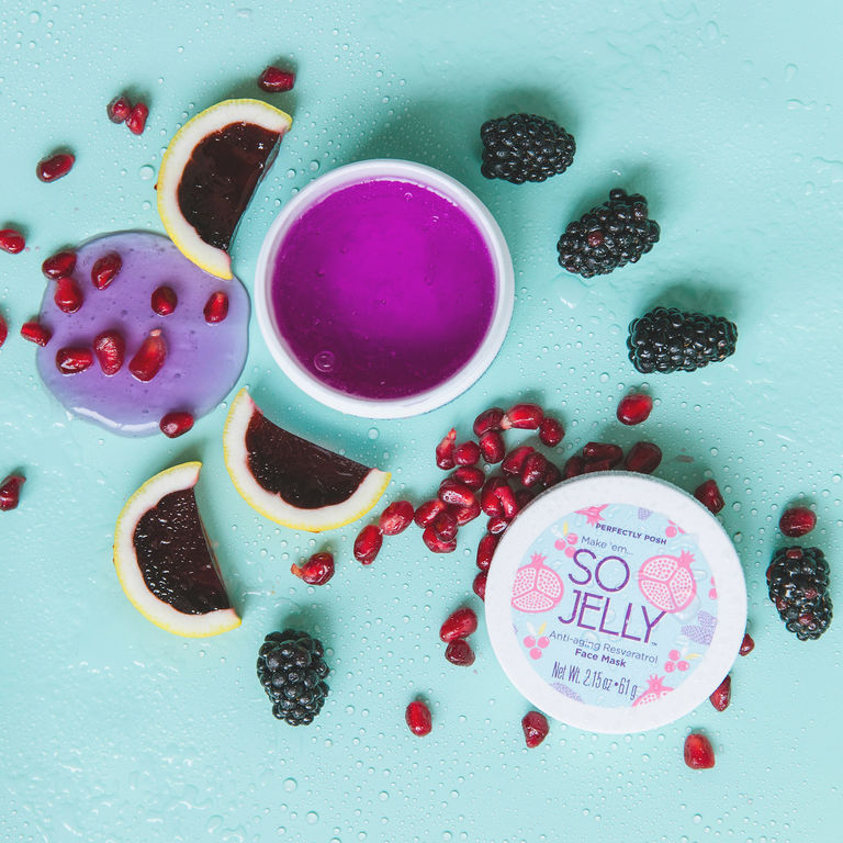 Perfectly Posh So Jelly Face Mask with pomegranate and superfruit berry extracts for hydrated and younger looking skin