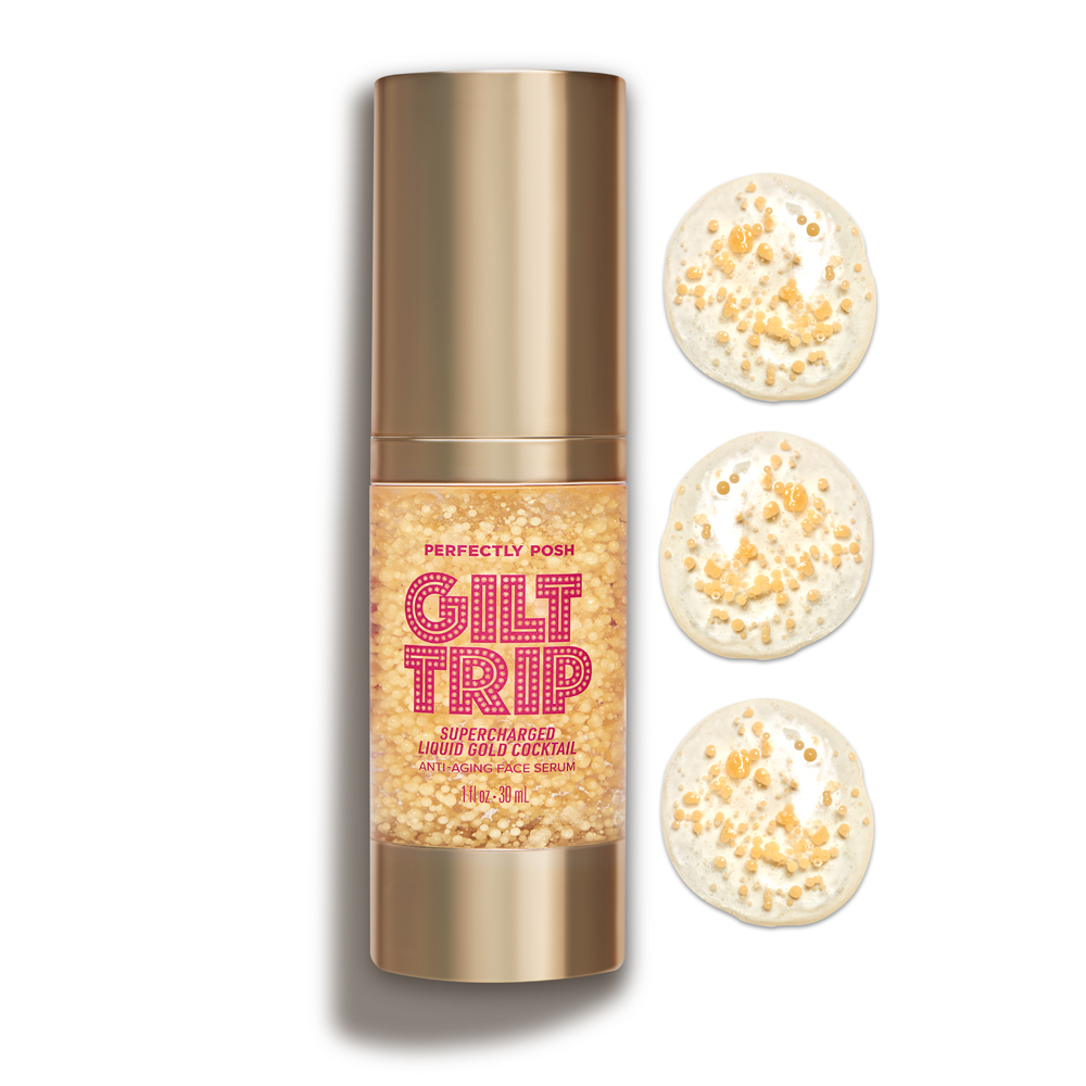 Perfectly Posh Gilt Trip Supercharged Liquid Gold Cocktail Anti-Aging Face Serum with encapsulated gold collagen
