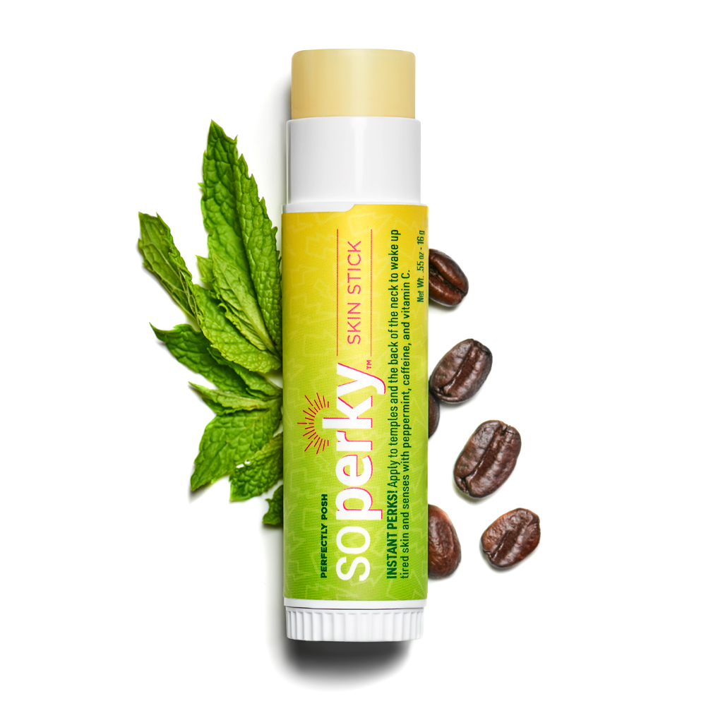 Perfectly Posh So Perky Skin Stick with caffeine from green coffee to ease tension headaches and energize