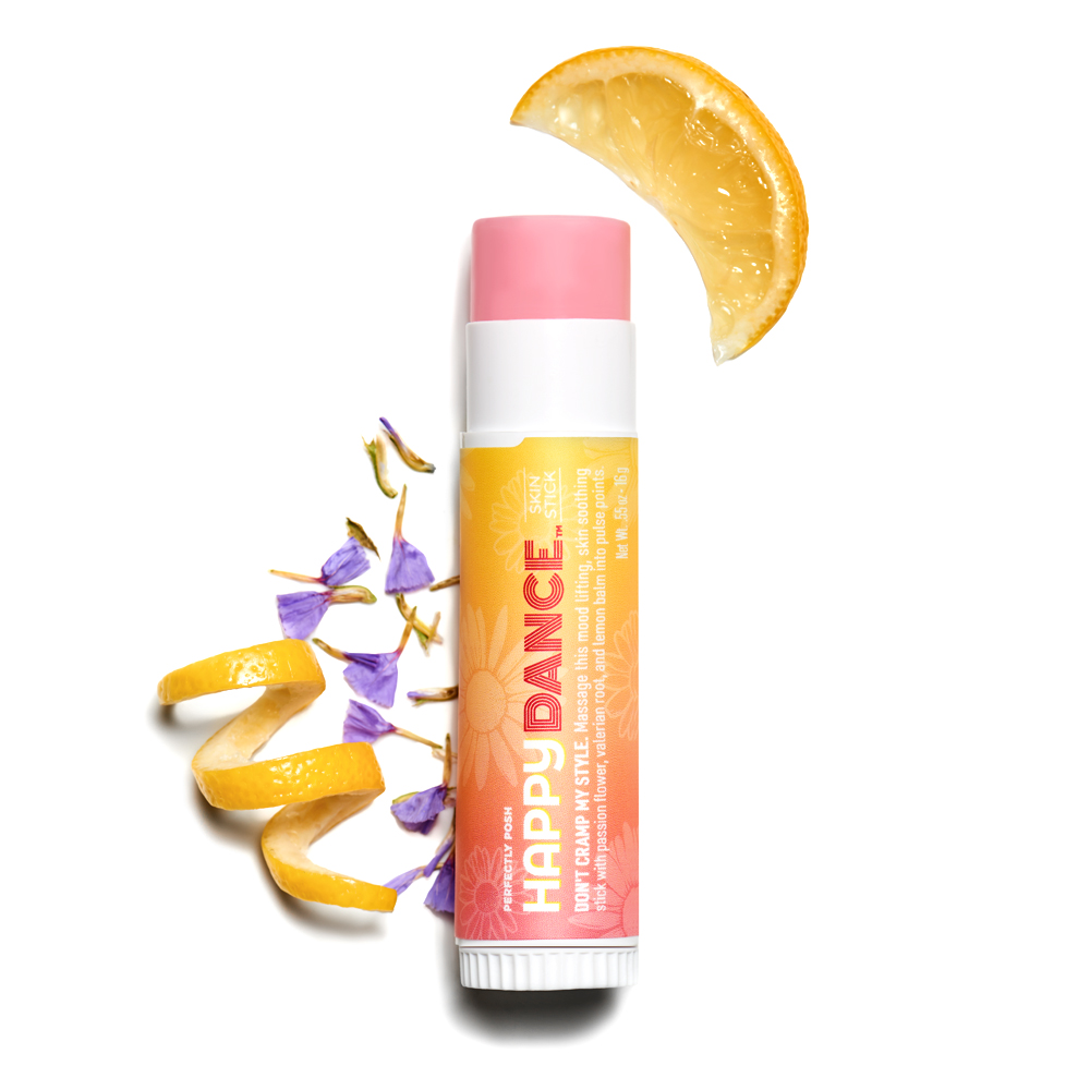 Perfectly Posh Happy Dance Skin Stick with valerian root and passion flower to improve mood and ease cramps