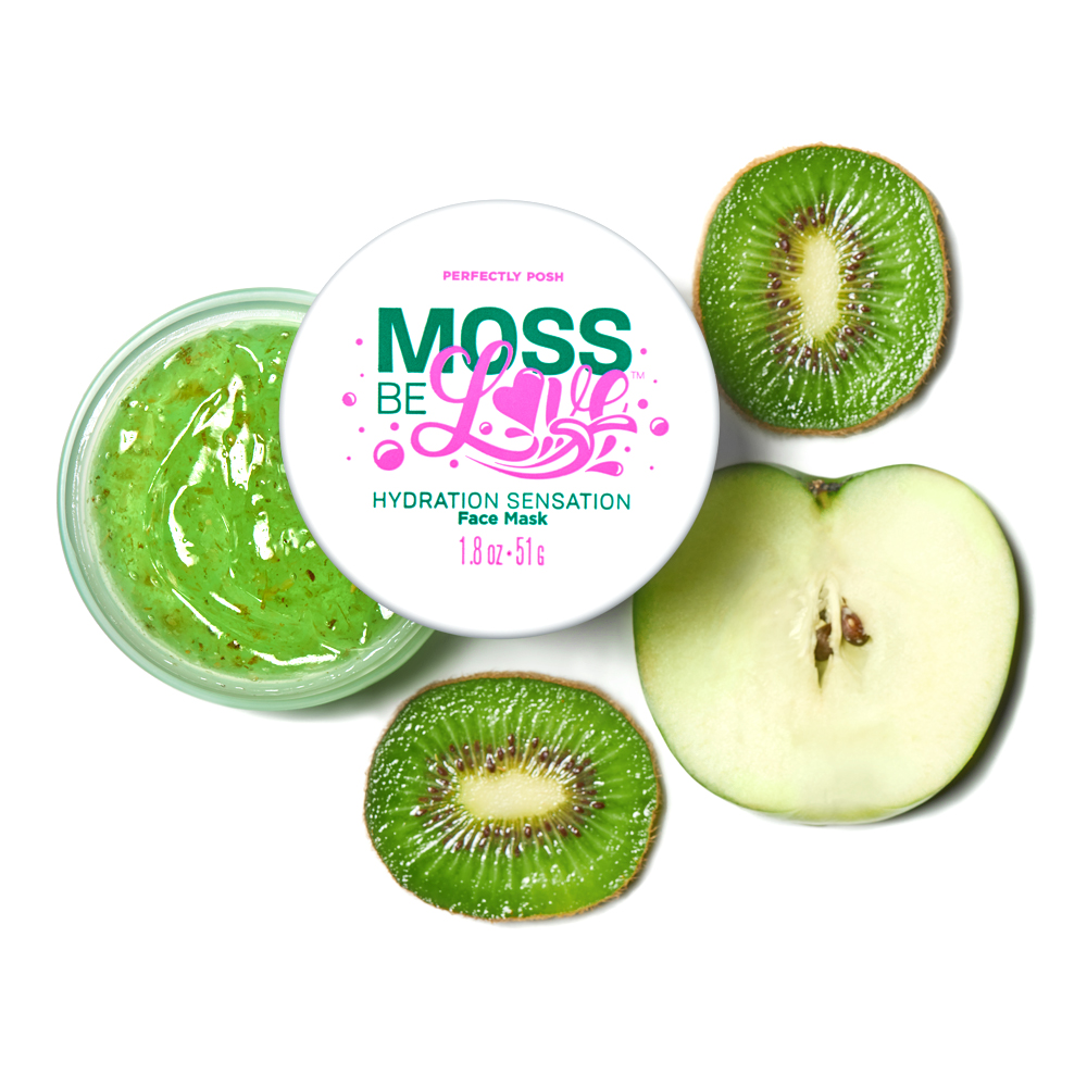 Perfectly Posh Moss Be Love Hydration Sensation Face Mask apple and kiwi in a gel formula for thirsty skin.