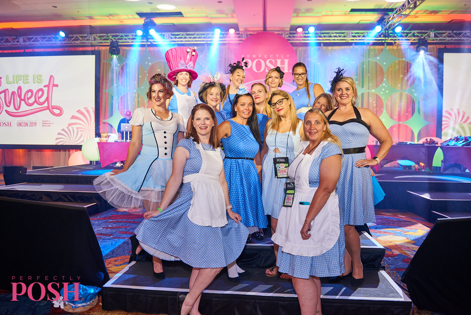 Perfectly Posh Influencers dress as Alice in Wonderland at the Mad Hatter Tea Party at UnCon 2019