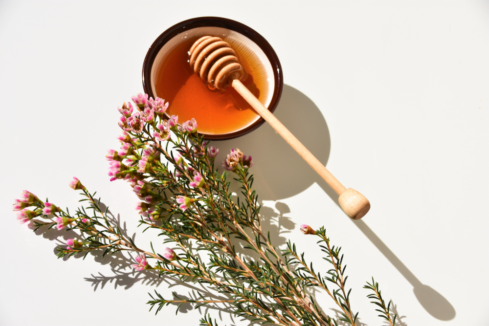 Manuka honey in dish with honey wand and Manuka tree flower used in Perfectly Posh Whole Hive Complex