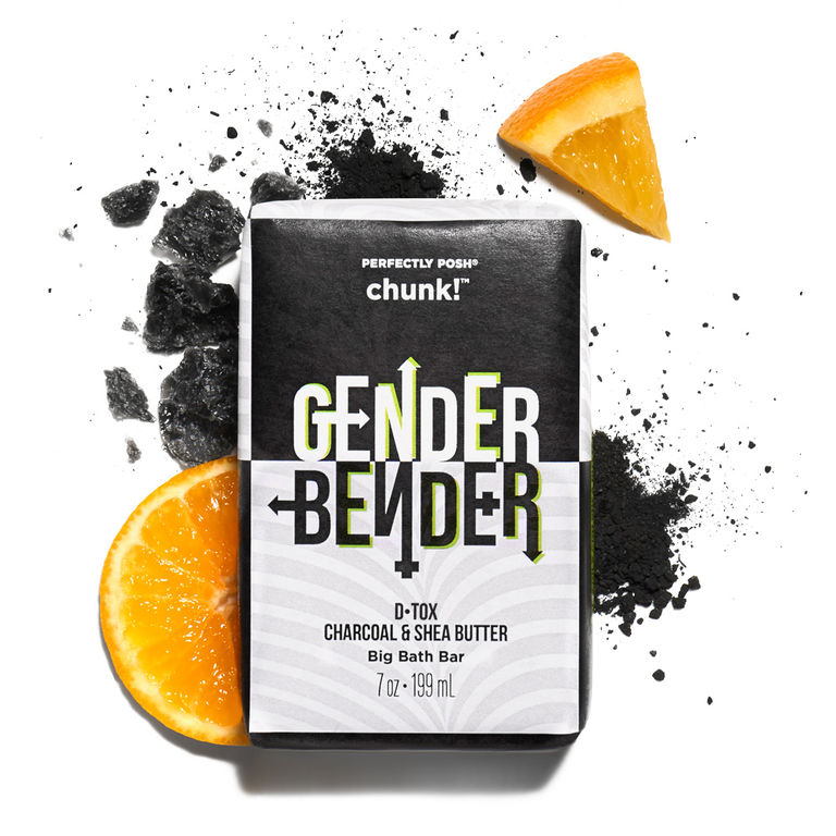 Perfectly Posh Gender Bender Chunk Big Bath Bar with activated charcoal to detoxify skin