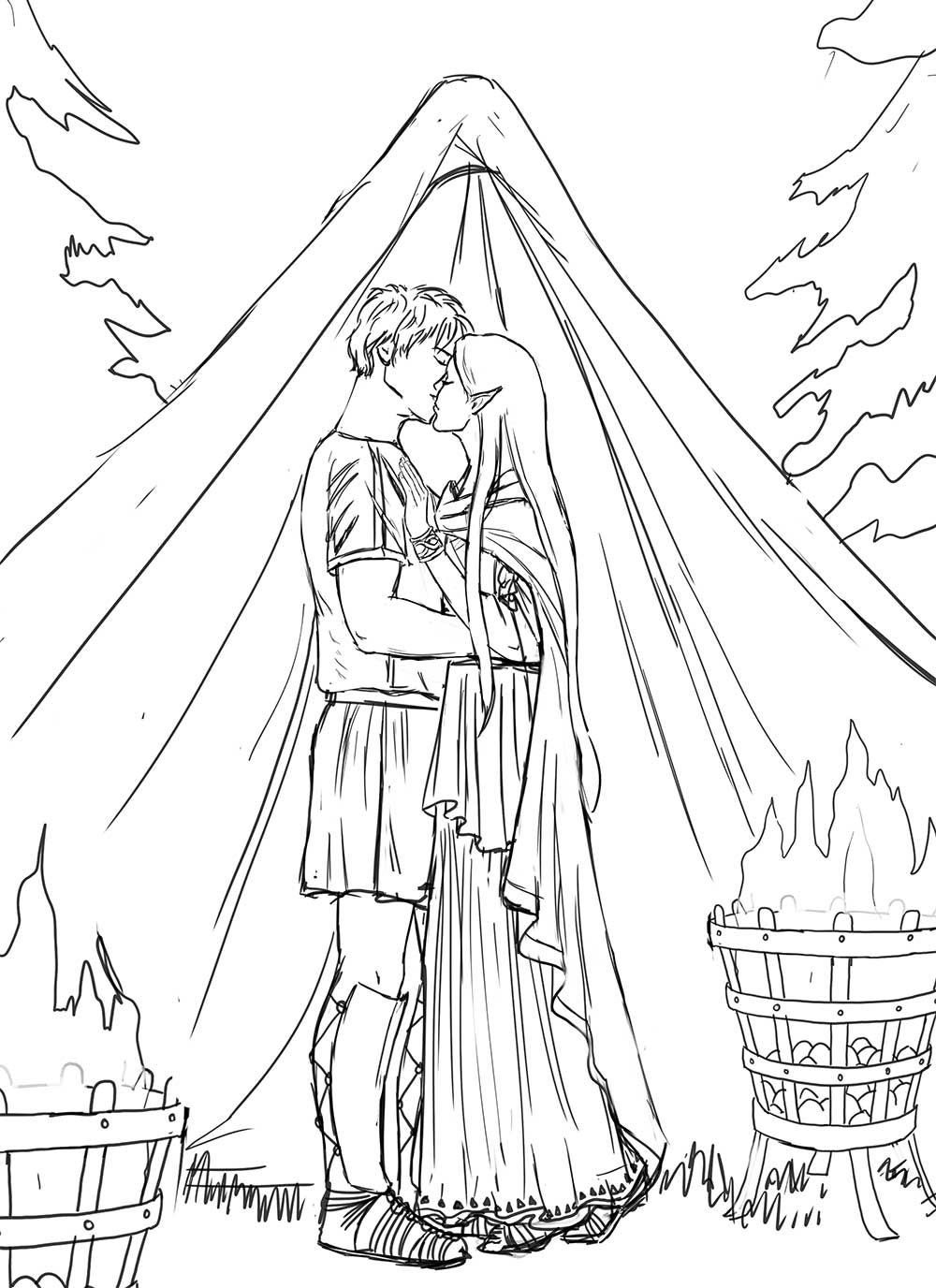 The lineart, including some changes the client requested like moving the biers, and adding a cloak. We decided on putting her hair down even though in an Ancient Roman setting this would have been a bit taboo! Not even a head scarf! Makes sense where it is in the story, plus fantasy! She's an elf!