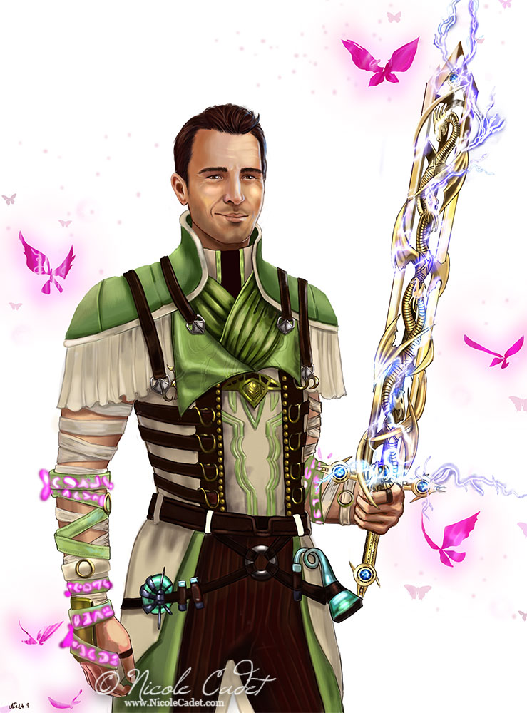 Male character1/2 body portrait of a male mesmer with the sword Bolt