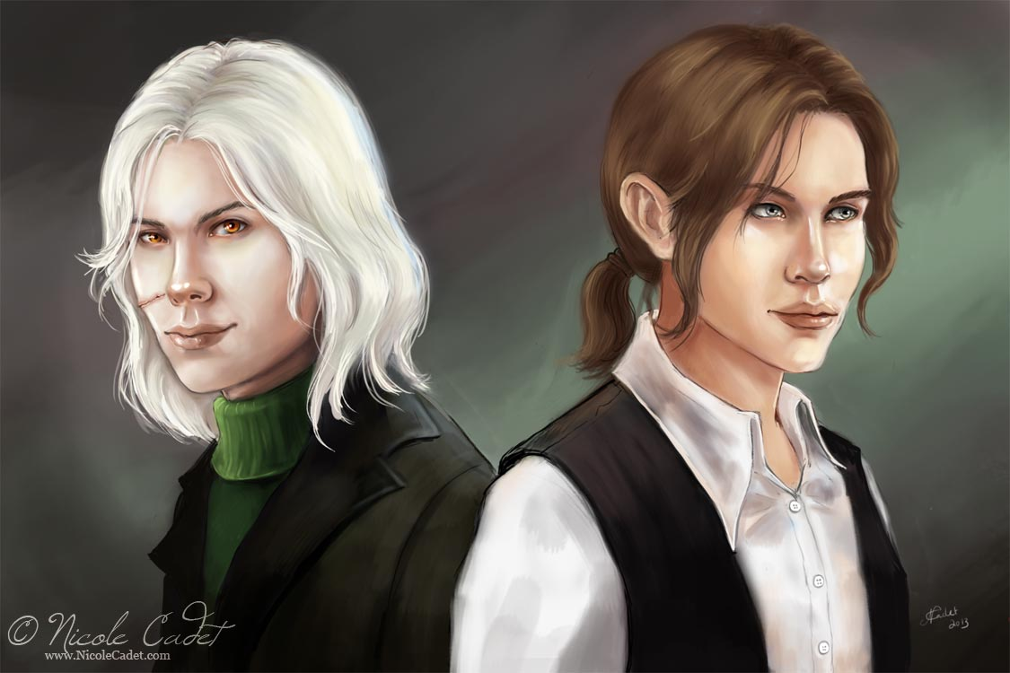 A double portrait of two male characters