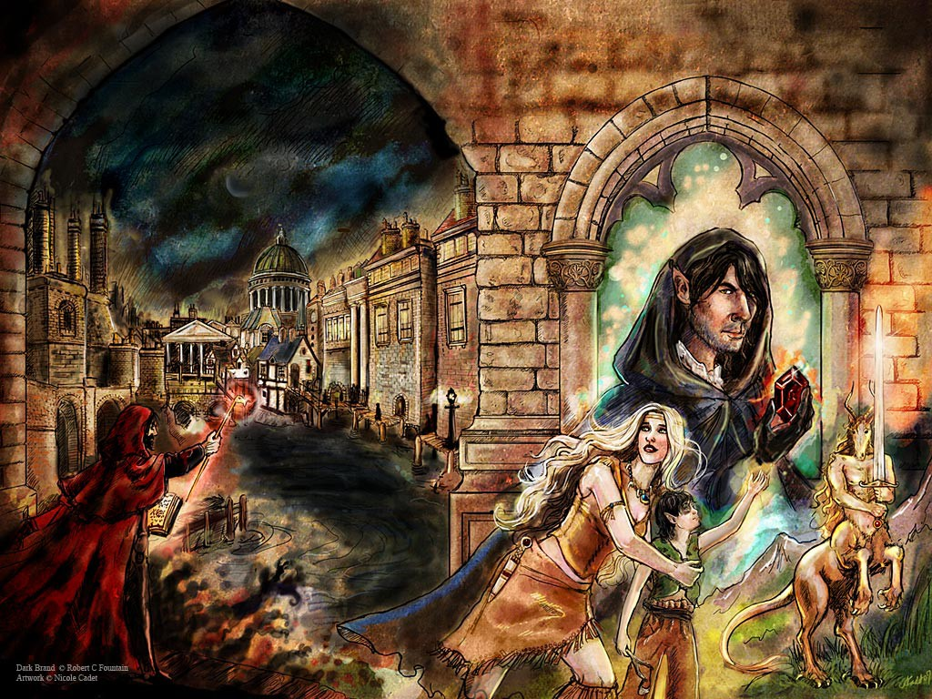 A fantasy story where the world is made up of decidedly Victorian London architecture, while the characters have animal features and wear purely fantasy costumes.