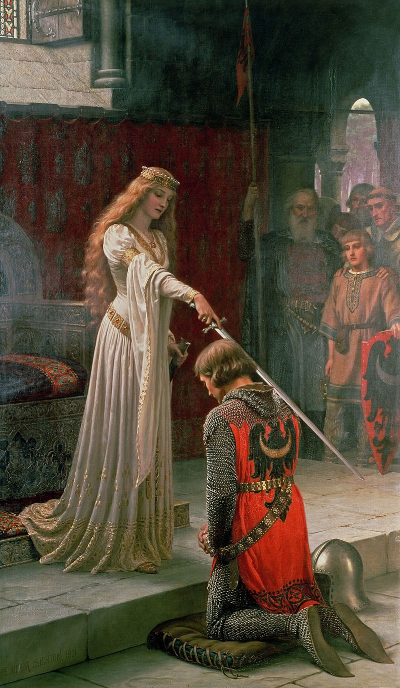 The Accolade - by Edmund Blair Leighton  - a Victorian artist painting about highly romanticised medieval England