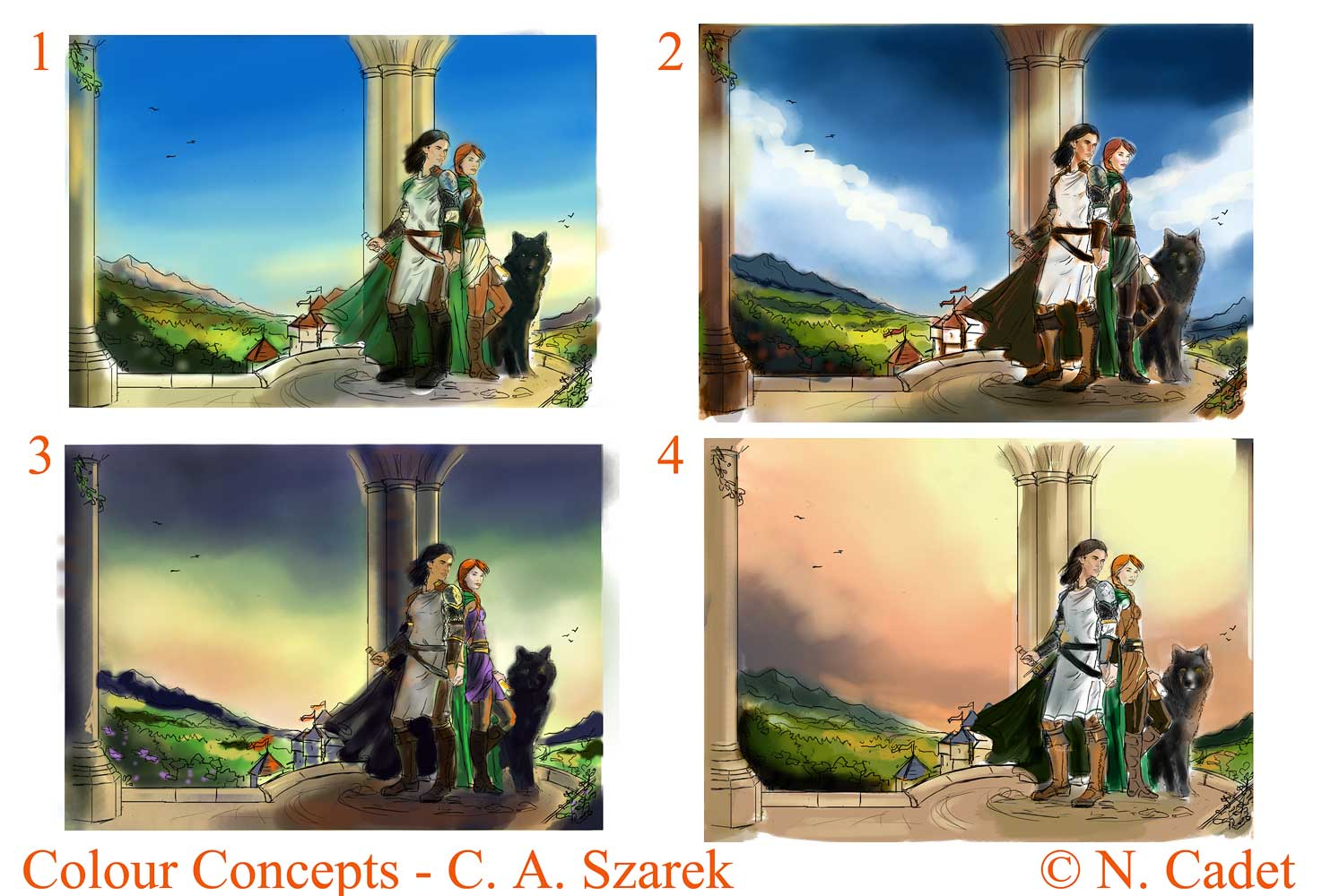 Colour Concepts for Love's Call. Each evokes a slightly different mood