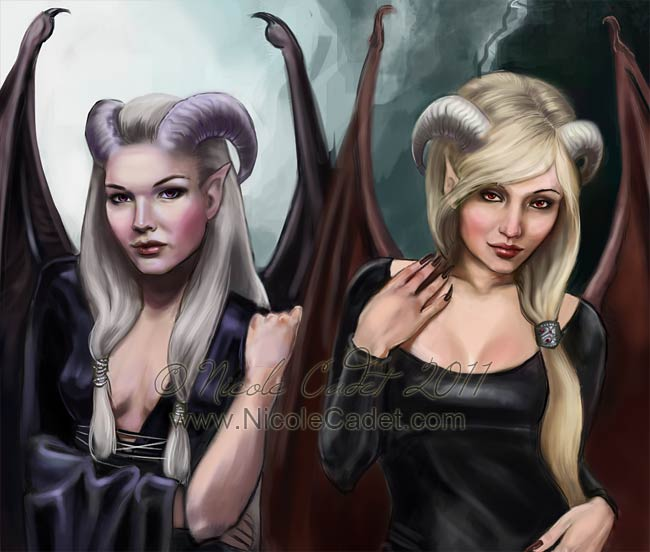 Detail of demoness characters