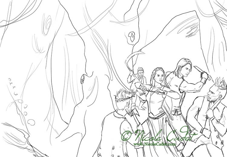 The line art / sketch that the client went with. I never fully render trees as I tend to prefer painting those details and allowing them to be a lot more organic