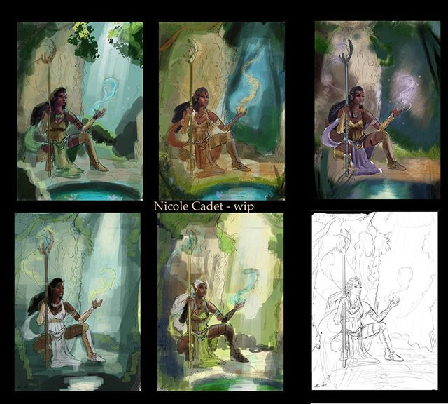 This is what's currently on the digital canvas. I'm thinking about going with 4, though the skin will be closer to 3's. #elf #woodelf #dnd #wip #colourroughs #darkskin #elffemale #digitalpainting #mage #blackskin #mage #elementalmagic #ruins