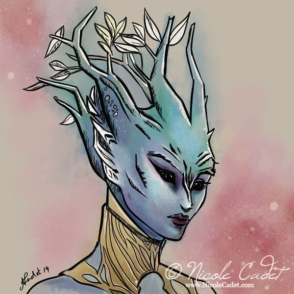My sylvari elementalist. Playing with CSP watercolours and inks #clipstudiopaint #digitalink #sylvari #gw2fansubmission #gw2 #guildwars2 #sketching #characterportrait #art #illustration