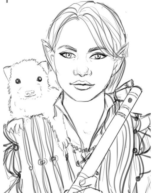 Sketch for a gnome bard with her pet ferret #baldursgate #dnd #gnome #fantasyart #sketching #ferret #bard #flute #wip #characterart